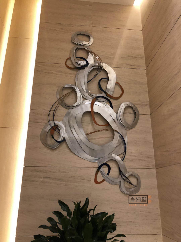 酒店大堂创意抽象金属铁艺不锈钢墙壁壁饰挂件背景艺术品摆件雕塑