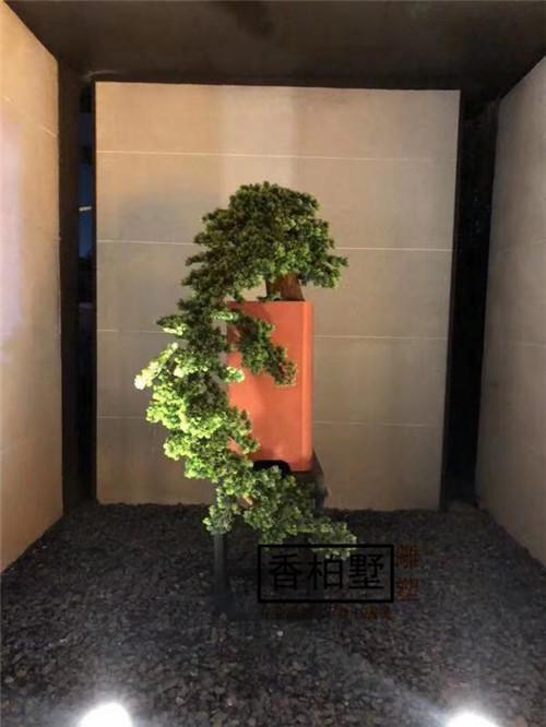 现代创意仿真天然树枝玻璃钢大理石树脂绿植实木组合雕塑摆件装饰