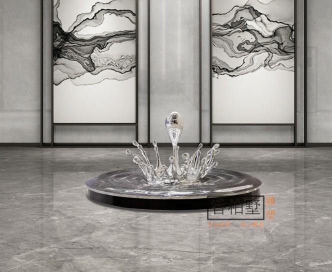 创意水滴波浪新型不锈钢树脂电镀玻璃落地摆件桌面摆设雕塑艺术品