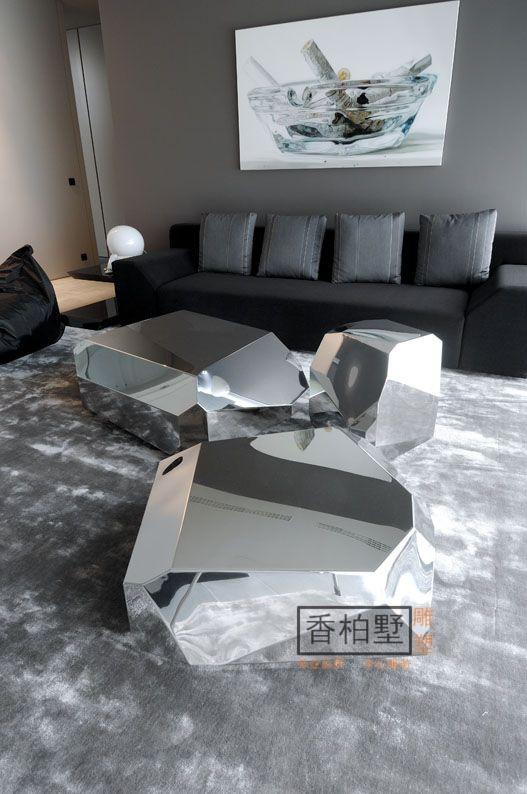 简约现代贝加尔湖畔石头块面石不锈钢电镀金拉丝座椅落地摆件雕塑