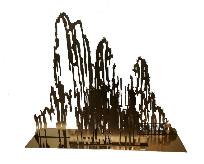 创意简约现代假山亚克力金属铁艺桌面摆件雕塑饰品落地酒店公会所