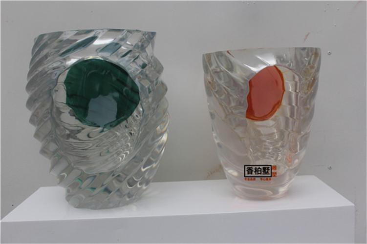 酒店样板房酒柜招财玄关艺术品雕塑透明树脂制作罐子组合桌面摆件