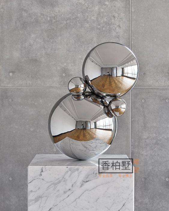 创意简约现代酒店会所镜面不锈钢球体组合爵士白大理石雕塑摆件品