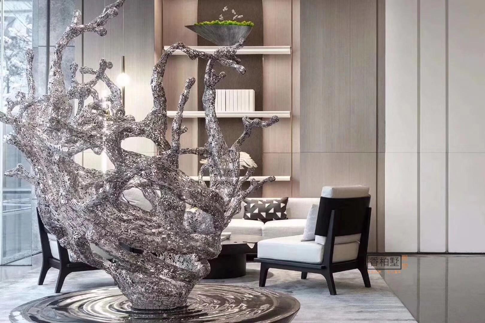 创意抽象大户外酒店家居艺术落地摆件软装雕塑不锈钢饰品招财好运