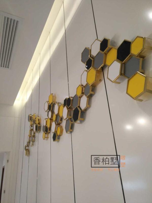 酒店家居立体创意不锈钢拉丝电镀油漆墙面软装饰品工艺品雕塑摆件