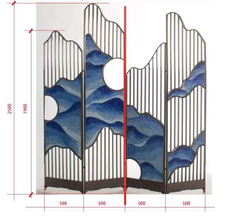 铁艺制作结合彩绘风水屏风