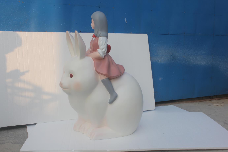 玻璃钢复合材质兔子小孩