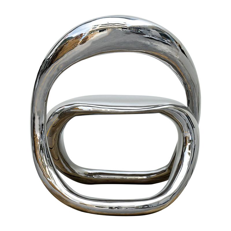 玻璃钢喷镀银抽象凳子